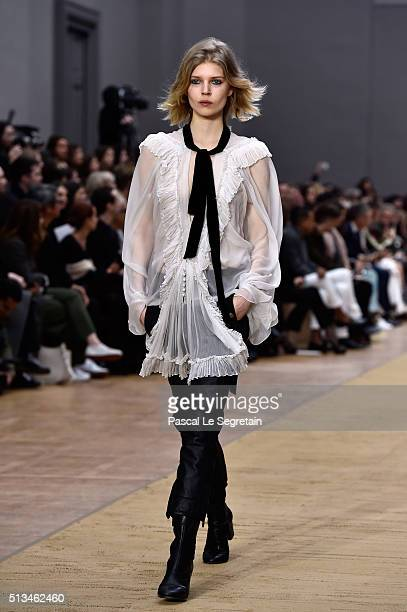 A model walks the runway during the Chloe show as part of the Paris Fashion Week Womenswear Fall/Winter 2016/2017 on March 3 2016 in Paris France