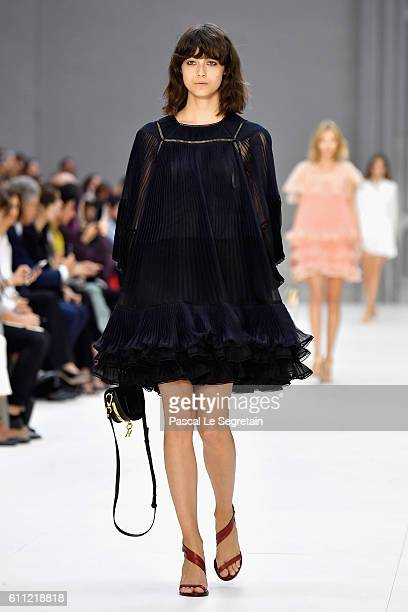 A model walks the runway during the Chloe show as part of the Paris Fashion Week Womenswear Spring/Summer 2017 on September 29 2016 in Paris France