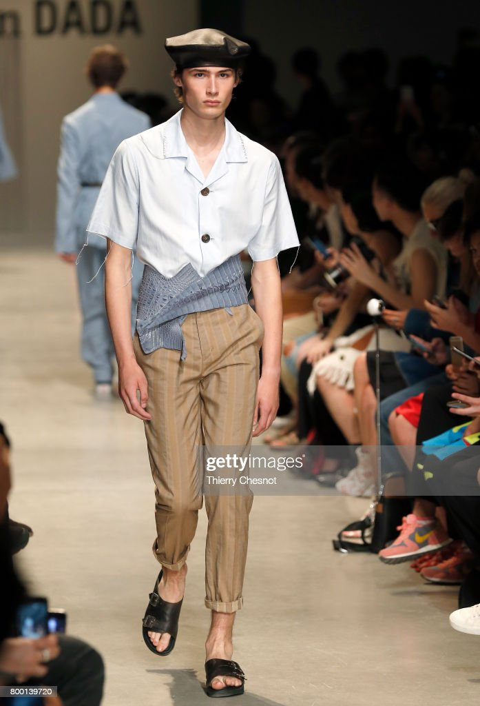 model-walks-the-runway-during-the-christian-dada-menswear-2018-show-picture-id800139720