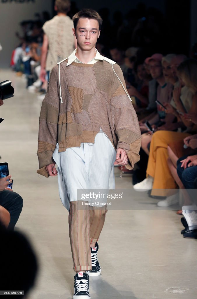model-walks-the-runway-during-the-christian-dada-menswear-2018-show-picture-id800139778