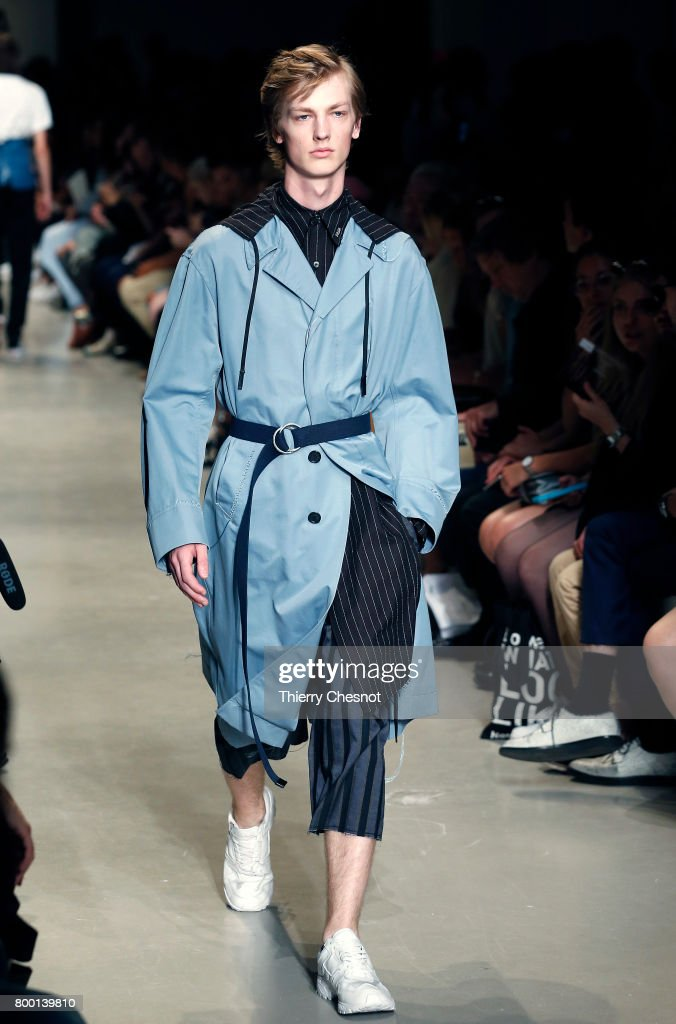 model-walks-the-runway-during-the-christian-dada-menswear-2018-show-picture-id800139810