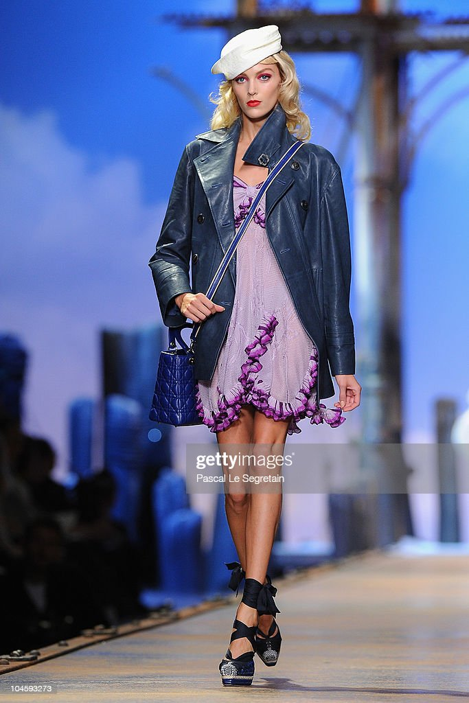 A model walks the runway during the Christian Dior Ready to Wear Spring/Summer 2011 show during Paris Fashion Week at Espace Ephemere Tuileries on October 1, 2010 in Paris, France.