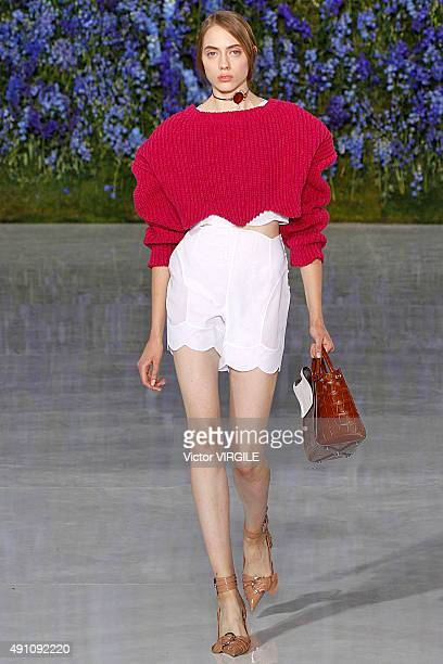 A model walks the runway during the Christian Dior Ready to Wear show as part of the Paris Fashion Week Womenswear Spring/Summer 2016 on October 2...
