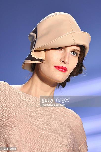 A model walks the runway during the Christian Dior Ready to Wear Spring / Summer 2012 show during Paris Fashion Week at Musee Rodin on September 30...