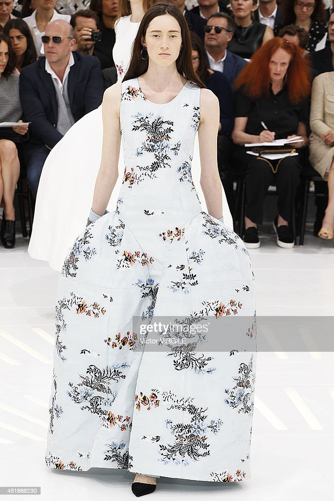 A model walks the runway during the Christian Dior show as part of Paris Fashion Week - Haute Couture Fall/Winter 2014-2015 at Muse Rodin on July 7, 2014 in Paris, France.