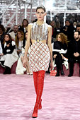 A model walks the runway during the Christian Dior show as part of Paris Fashion Week Haute Couture Spring/Summer 2015 on January 26 2015 in Paris...