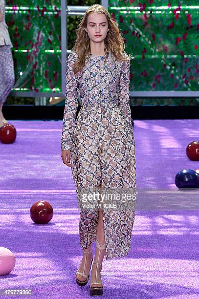 A model walks the runway during the Christian Dior show as part of Paris Fashion Week Haute Couture Fall/Winter 2015/2016 on July 6 2015 in Paris...