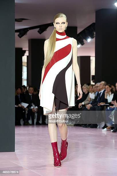A model walks the runway during the Christian Dior show as part of the Paris Fashion Week Womenswear Fall/Winter 2015/2016 at cour Carree du Louvre...