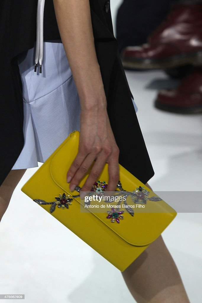 A model walks the runway during the Christian Dior show as part of the Paris Fashion Week Womenswear Fall/Winter 20142015 on February 28 2014 in...