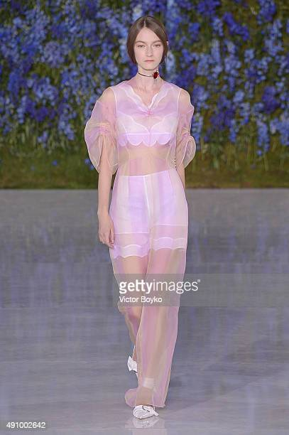A model walks the runway during the Christian Dior show as part of the Paris Fashion Week Womenswear Spring/Summer 2016 on October 2 2015 in Paris...