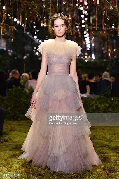 A model walks the runway during the Christian Dior Spring Summer 2017 show as part of Paris Fashion Week on January 23 2017 in Paris France