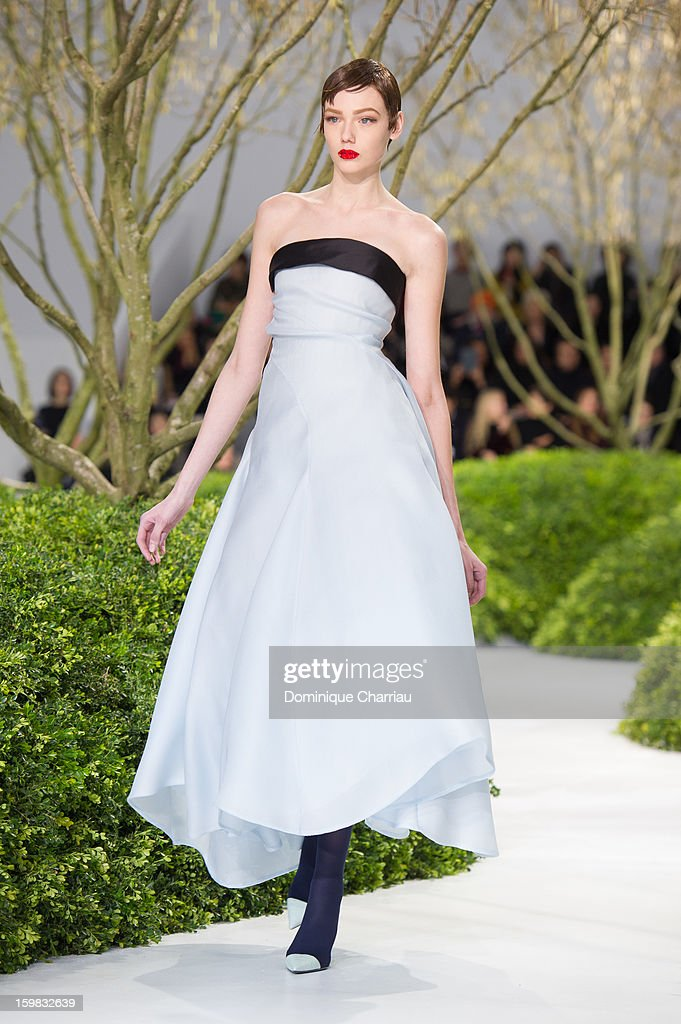 A model walks the runway during the Christian Dior Spring/Summer 2013 Haute-Couture show as part of Paris Fashion Week at on January 21, 2013 in Paris, France.