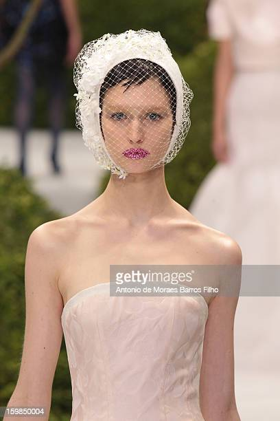 A model walks the runway during the Christian Dior Spring/Summer 2013 HauteCouture show as part of Paris Fashion Week at on January 21 2013 in Paris...