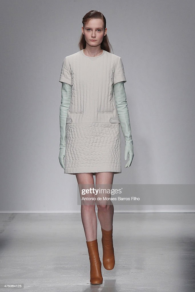 A model walks the runway during the Christian Wijnants show as part of the Paris Fashion Week Womenswear Fall/Winter 20142015 on February 27 2014 in...