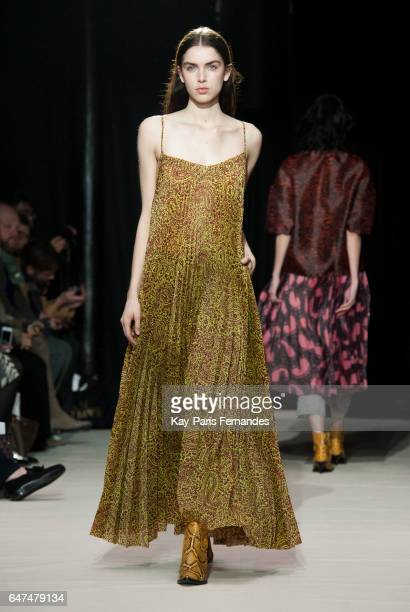 A model walks the runway during the Christian Wijnants show as part of the Paris Fashion Week Womenswear Fall/Winter 2017/2018 on March 3 2017 in...