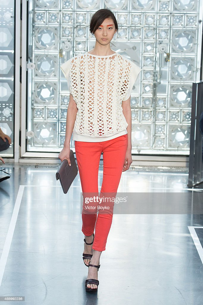 A model walks the runway during the Christine Phung show as part of the Paris Fashion Week Womenswear Spring/Summer 2015 on September 23 2014 in...