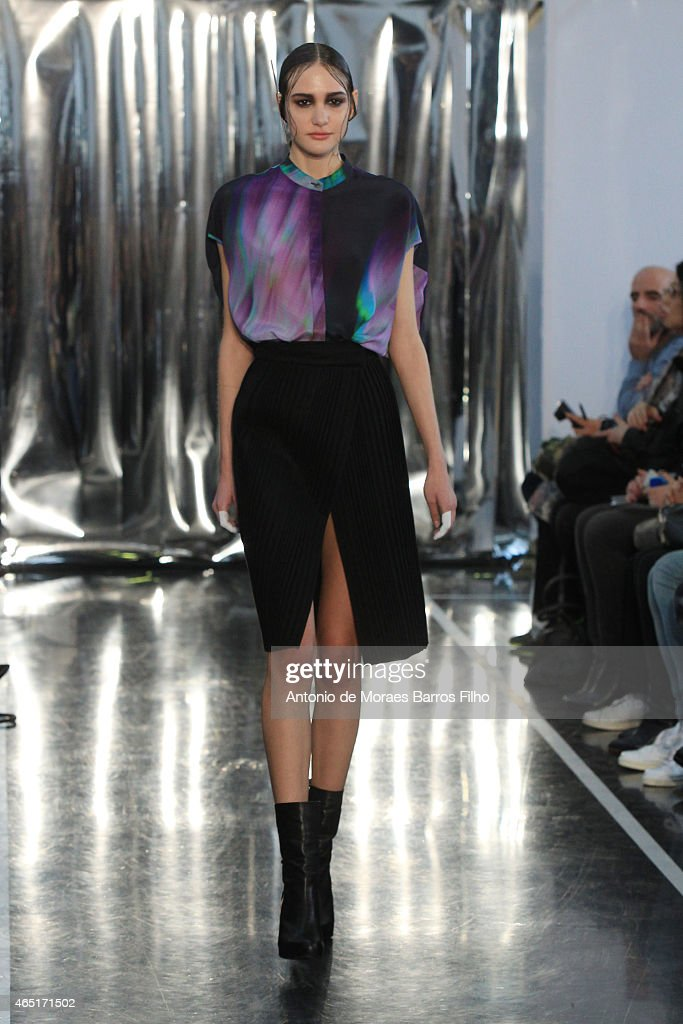 A model walks the runway during the Christine Phung show as part of the Paris Fashion Week Womenswear Fall/Winter 2015/2016 on March 3 2015 in Paris...