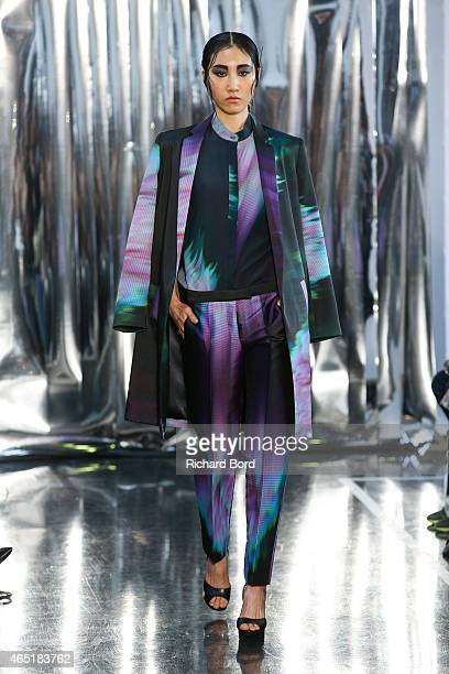 A model walks the runway during the Christine Phung show as part of the Paris Fashion Week Womenswear Fall/Winter 2015/2016 at Institut du Monde...