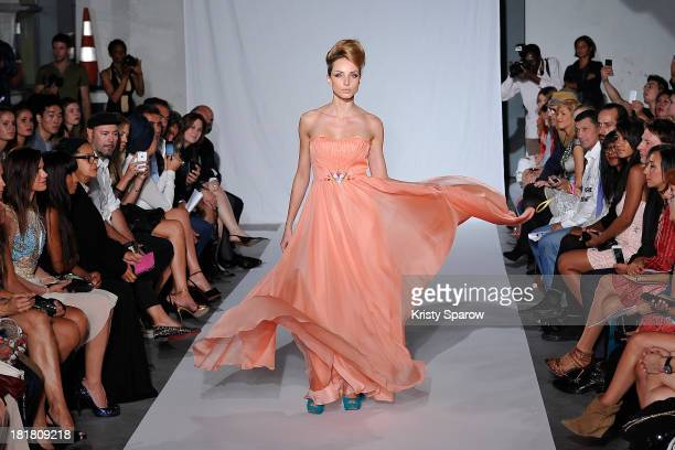 A model walks the runway during the Christophe Guillarme show as part of Paris Fashion Week Womenswear Spring/Summer 2014 on September 25 2013 in...