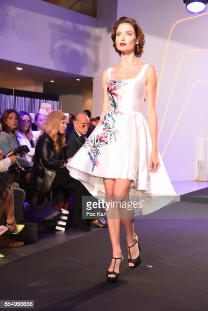 A model walks the runway during the Christophe Guillarme Show as part of the Paris Fashion Week Womenswear Spring/Summer 2018 on September 27 2017 in...