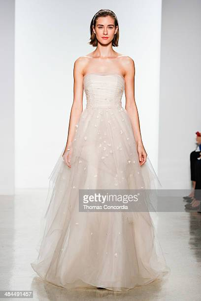 A model walks the runway during the Christos Spring 2015 Bridal collection show at EZ Studios on April 12 2014 in New York City