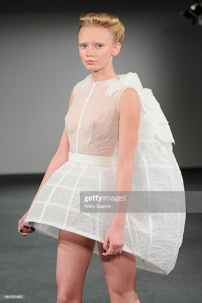 A model walks the runway during the Clarisse Hieraix show as part of Paris Fashion Week Haute Couture Spring/Summer 2014 on January 21, 2014 in Paris, France.