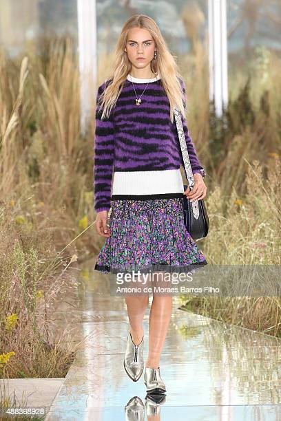 A model walks the runway during the Coach show as a part of Spring 2016 New York Fashion Week on September 15 2015 in New York City