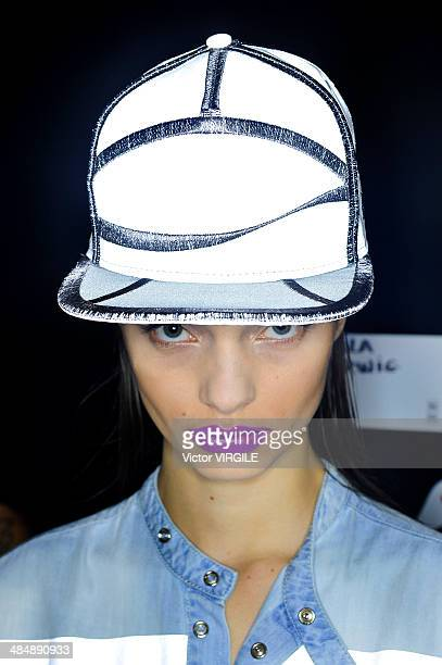 A model walks the runway during the Coca Cola Clothing Fashion show at Rio de Janeiro Fashion Week Spring Summer 2014/2015 on April 9 2014 in Rio de...