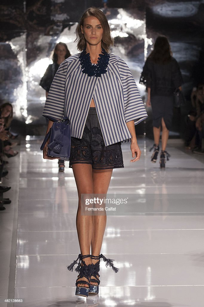 A Model walks the runway during the Colcci show at Sao Paulo Fashion Week Summer 2014/2015 at Parque Candido Portinari on April 2, 2014 in Sao Paulo, Brazil.