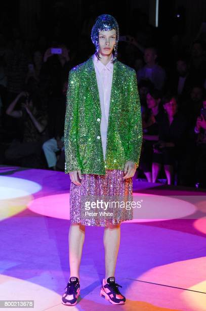 A model walks the runway during the Comme Des Garcons Homme Plus Menswear Spring/Summer 2018 show as part of Paris Fashion Week on June 23 2017 in...