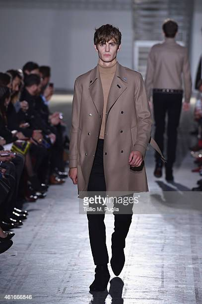 A model walks the runway during the Costume National Show as a part of Milan Menswear Fashion Week Fall Winter 2015/2016 on January 17 2015 in Milan...
