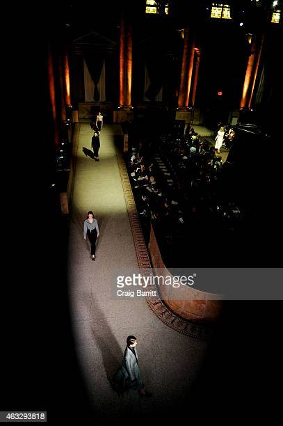 A model walks the runway during the Creatures of Comfort fashion show at Capitale on February 12 2015 in New York City