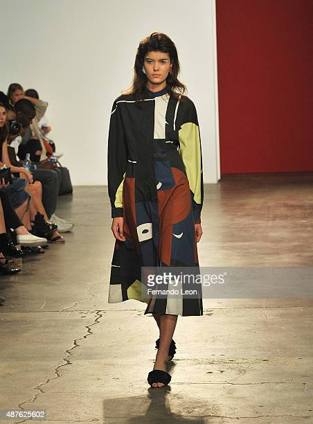 A model walks the runway during the Creatures of Comfort fashion show during Spring 2016 New York Fashion Week at Maccarone Gallery on September 10...
