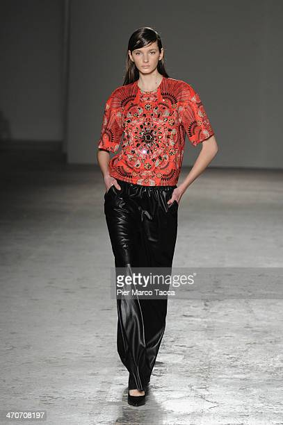 A model walks the runway during the Cristiano Burani show as part of Milan Fashion Week Womenswear Autumn/Winter 2014 on February 20 2014 in Milan...