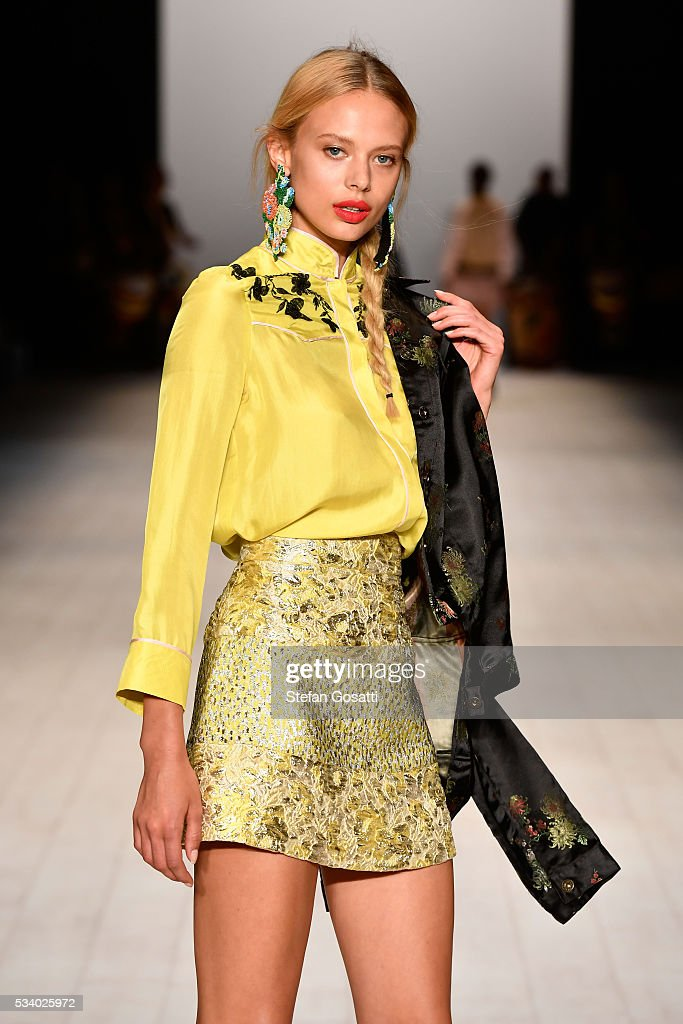 Model walks the runway during the cynthia rowley show at mercedes