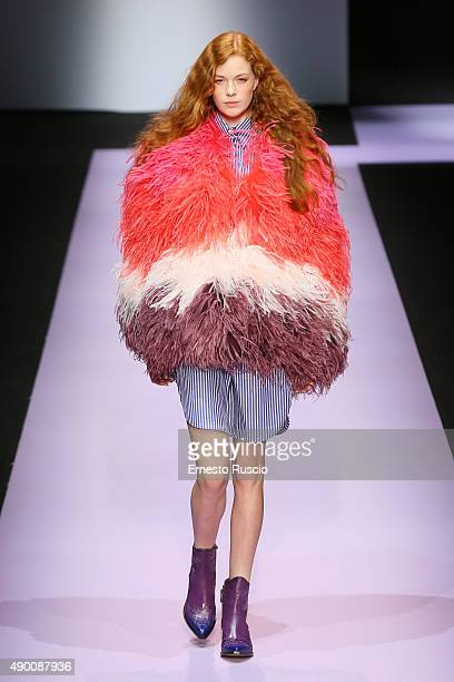 A model walks the runway during the Daizy Shely fashion show as part of Milan Fashion Week Spring/Summer 2016 on September 26 2015 in Milan Italy