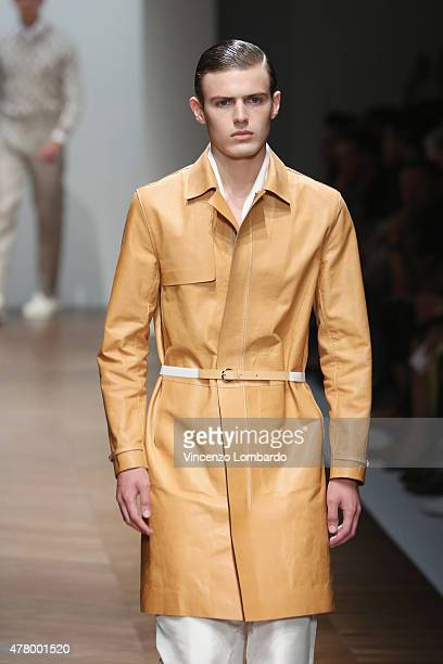 A model walks the runway during the Daks fashion show as part of Milan Men's Fashion Week Spring/Summer 2016 on June 21 2015 in Milan Italy