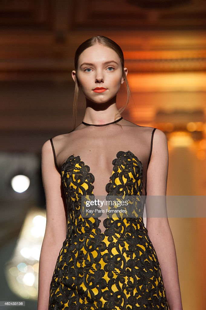 Model walks the runway during the dany atrache show as part of paris