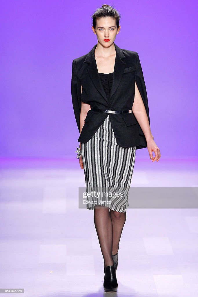 A model walks the runway during the David Dixon fashion show at David Pecaut Square on March 19, 2013 in Toronto, Canada.