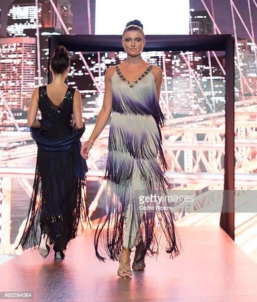 A model walks the runway during the Debenhams show at Yas Mall Fashion Week on October 15 2015 in Abu Dhabi United Arab Emirates