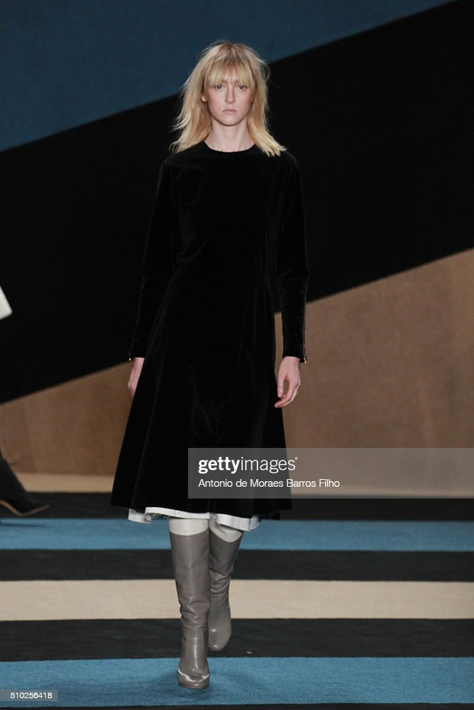 A model walks the runway during the Derek Lam show as a part of Fall 2016 New York Fashion Week at The Gallery, Skylight at Clarkson Sq on February 14, 2016 in New York City.