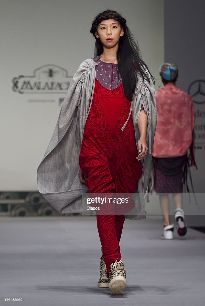 A model walks the runway during the Designer Malafacha Spring/Summer 2013 collection at Carpa Santa Fe on November 14, 2012 in Mexico City, Mexico.