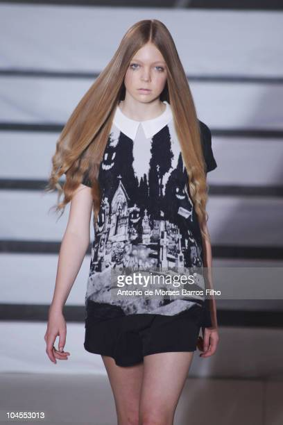 A model walks the runway during the Devastee Ready to Wear Spring/Summer 2011 show during Paris Fashion Week at L'Academie on September 29 2010 in...