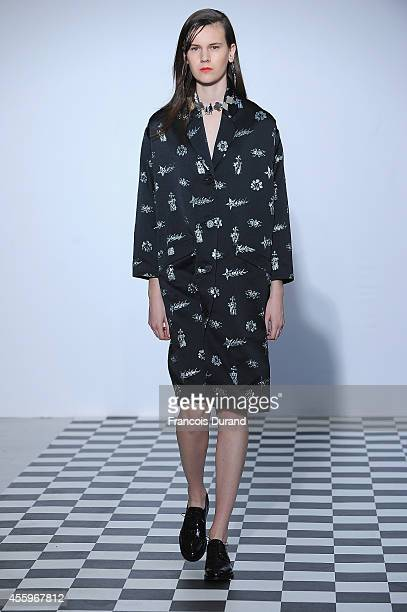 A model walks the runway during the Devastee show as part of the Paris Fashion Week Womenswear Spring/Summer 2015 on September 23 2014 in Paris France