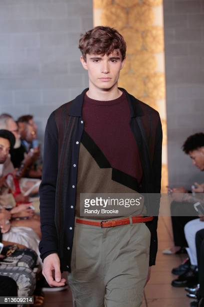 A model walks the runway during the Deveaux Presentation during NYFW Men's July 2017 on July 12 2017 in New York City