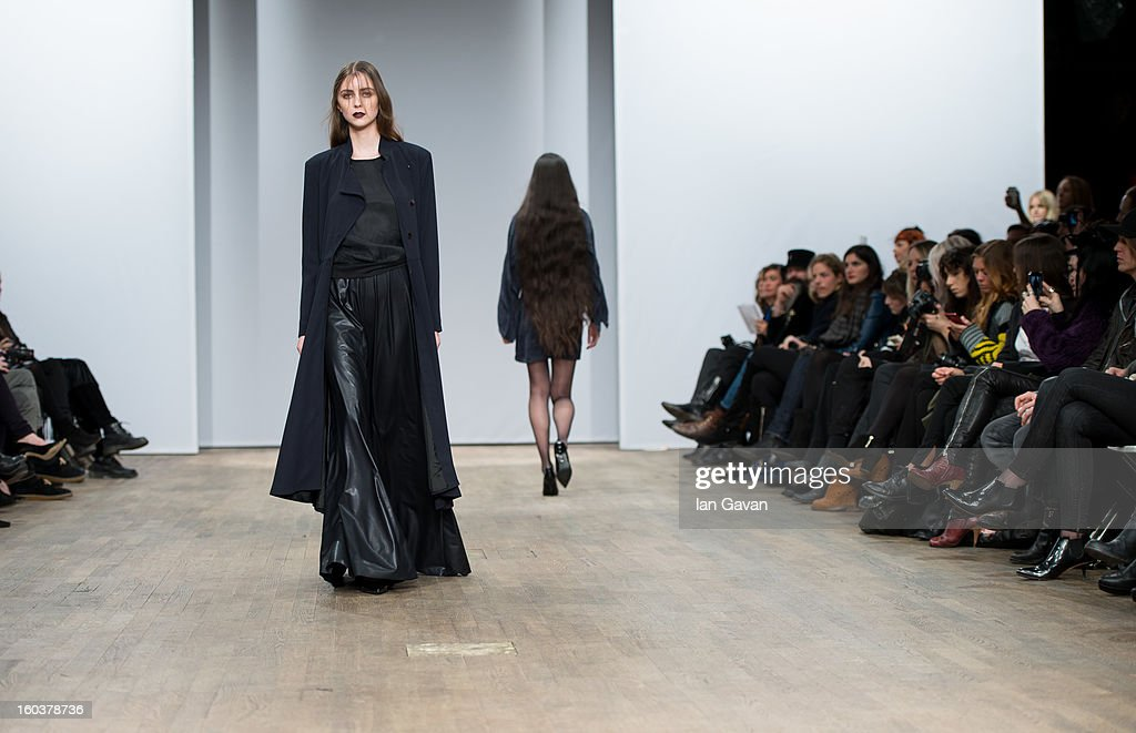 A model walks the runway during the Diana Orving at Mercedes-Benz Stockholm Fashion Week Autumn/Winter 2013 at Berns on January 30, 2013 in Stockholm, Sweden.