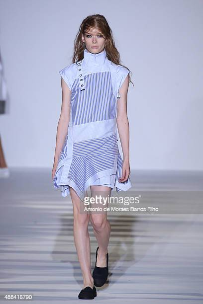 A model walks the runway during the Diesel Black Gold show as a part of Spring 2016 New York Fashion Week on September 15 2015 in New York City