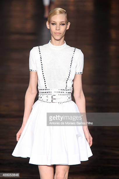 A model walks the runway during the Diesel Black Gold show at MercedesBenz Fashion Week Spring 2015 at 360 West 33rd Street on September 9 2014 in...