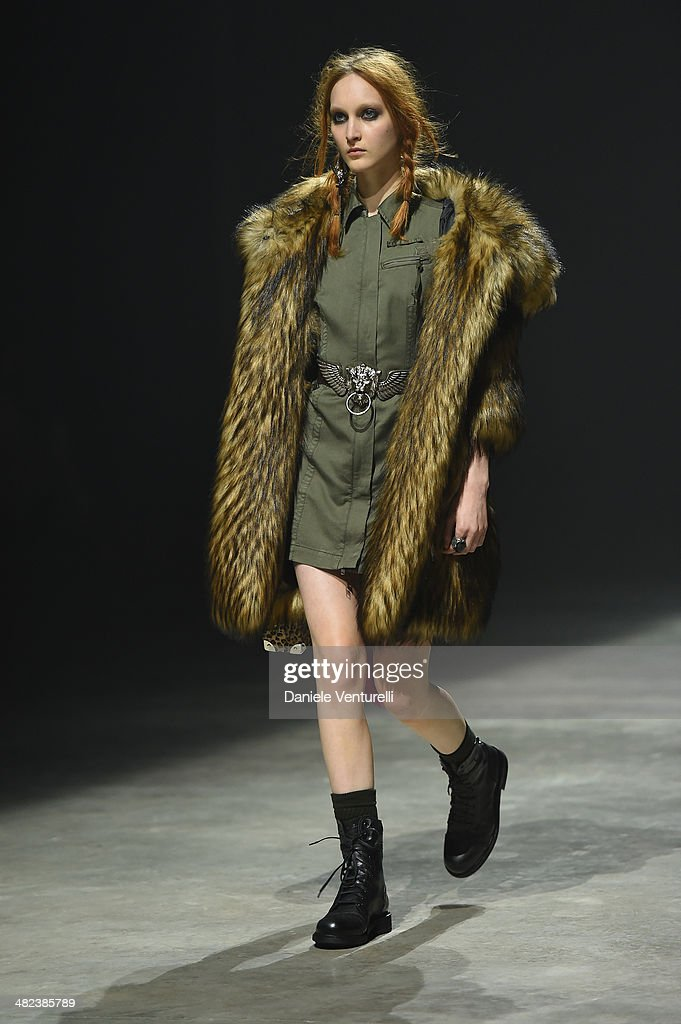 A model walks the runway during the Diesel FW14 Collection Presentation Show at Tese di San Cristoforo on April 3, 2014 in Venice, Italy.