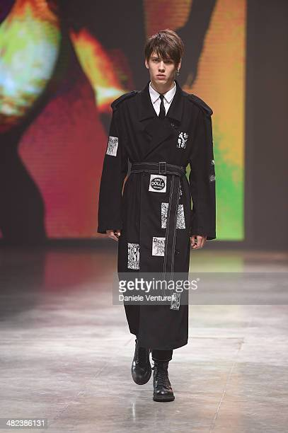 A model walks the runway during the Diesel FW14 Collection Presentation Show at Tese di San Cristoforo on April 3 2014 in Venice Italy
